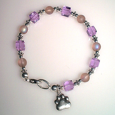 Lavender Swarovski Crystal Chinchilla Charm Bracelet Chinchilla