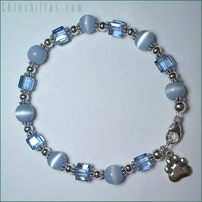December Birth Stone Swarovski Crystal Chinchilla Charm Bracelet Chinchilla