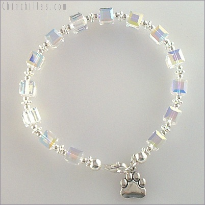 Swarovski Crystal Chinchilla Paw Charm Bracelet Chinchilla