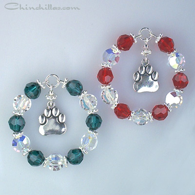 Swarovski Crystal Chinchilla Paw Christmas Ornament Set Chinchilla