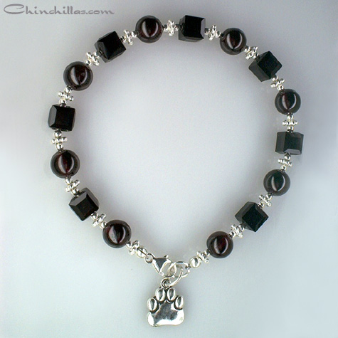 Garnet & Swarovski Crystal Chinchilla Charm Bracelet Chinchilla