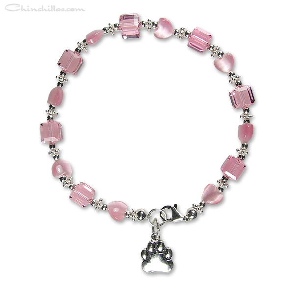 Valentine's Day Pink Swarovski Crystal & Heart Chinchilla Paw Charm Bracelet Chinchilla