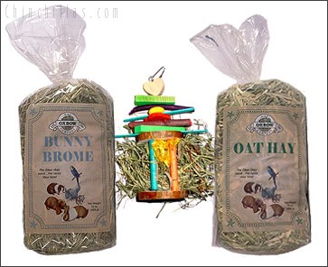 Oxbow Oat & Brome Hay with Hanging Hay Rack Chinchilla