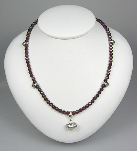 Garnet Fleur-De-Lis Necklace with Chinchilla Millennia VI Chinchilla