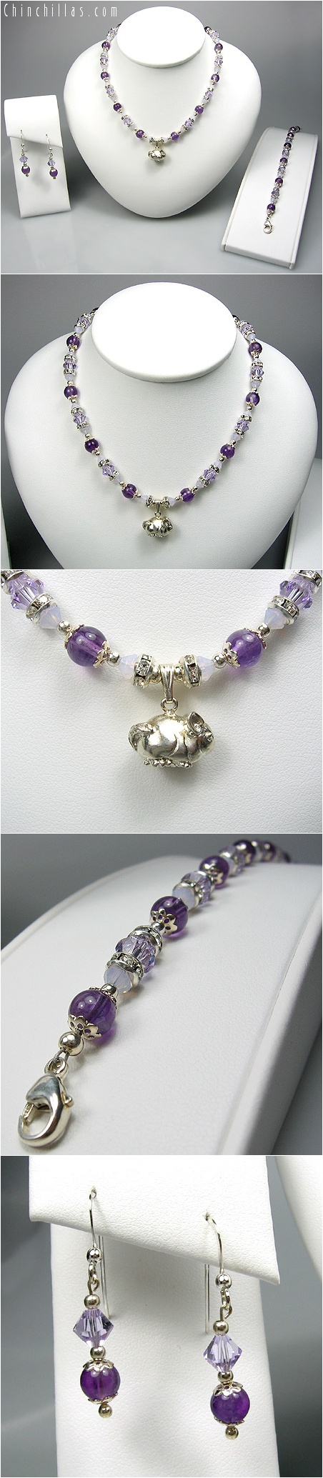 Swarovski Crystal, Amethyst & Sterling Silver Jewelry Set with Chinchilla Millennia IV Chinchilla